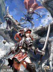 1boy 1girl armor cape clenched_teeth dragon fantasy gauntlets helmet junny long_hair looking_back open_mouth original red_hair sharp_teeth shield sky sweat sword thighhighs twintails weapon