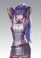 1girl armpits arms_behind_head arms_up belt black_legwear blue_eyes breast_lift breasts brown_gloves cleavage dress elbow_gloves gloves grey_dress kishiyo large_breasts long_hair looking_at_viewer pixiv_fantasia pixiv_fantasia_t ponytail purple_hair rei_no_himo short_dress sleeveless sleeveless_dress solo thighhighs very_long_hair zettai_ryouiki