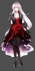 1girl ahoge black_gloves black_legwear black_shoes choker dan_(astsr1) elbow_gloves elsword eve_(elsword) expressionless feather_boa full_body gloves grey_background hairband highres long_hair looking_at_viewer pantyhose red_skirt shoes skirt solo white_hair yellow_eyes
