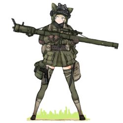 1girl america animal_hat backpack bag belt blonde_hair blue_eyes blush brown_gloves coh dagger full_body gloves goggles goggles_on_head grass green_legwear gun hat holding jacket long_sleeves mars_expedition military military_uniform rocket_launcher short_hair simple_background solo thighhighs uniform weapon weapon_request white_background