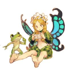 >:o 1boy 1girl :o barefoot blonde_hair braid butterfly_wings fairy flower frog full_body handheld_game_console head_tilt ingway_(odin_sphere) junwool long_hair long_sleeves looking_at_another mercedes odin_sphere pointing pointing_at_self pointy_ears puffy_sleeves red_eyes simple_background sitting sketch standing twin_braids white_background wings