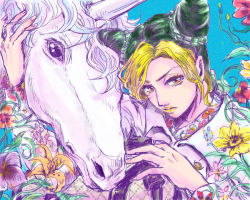 1girl blonde_hair double_bun flower green_hair jojo_no_kimyou_na_bouken kuujou_jolyne lily_(flower) lipstick makeup mitsuru_(91000) multicolored_hair orange_eyes sunflower two-tone_hair unicorn yellow_lipstick