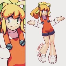 1girl alternate_costume android blonde_hair blush_stickers commentary flat_chest green_eyes hair_ribbon long_hair overalls ponytail ribbon robert_porter robot_joints rockman rockman_(classic) roll shrug solo zoom_layer