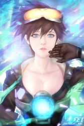 1girl alternate_eye_color artist_name bangs blue_eyes bomber_jacket breasts brown_gloves brown_jacket cleavage collarbone ear_piercing eyelashes gloves goggles goggles_on_head hair_between_eyes hand_to_head harness jacket large_breasts looking_at_viewer lying nose on_back open_clothes open_jacket overwatch parted_lips piercing pink_lips shards solo spiked_hair strap teeth tracer_(overwatch) watermark web_address