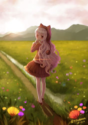 1girl absurdres animal_hat blonde_hair brown_eyes cat_hat dated field flower hat highres long_hair looking_back mahou_shoujo_madoka_magica mahou_shoujo_madoka_magica_movie momoe_nagisa pantyhose pom_pom_(clothes) signature skirt solo tsubasa_tsubasa white_legwear