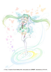 1girl :d boots butterfly dress fairy_wings flower frilled_dress frilled_skirt frilled_sleeves frills full_body goodsmile_company goodsmile_racing green_eyes green_hair green_skirt hair_flower hair_ornament hatsune_miku high_heel_boots high_heels highres long_hair looking_at_viewer open_mouth skirt smile solo tanaka_takayuki thigh_boots thigh_strap thighhighs tied_hair twintails v very_long_hair vocaloid white_background wings