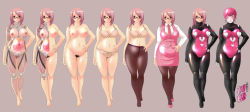 1girl android artist_request bra breasts dress glasses helmet large_breasts lingerie nude pantyhose pink_hair plump pubic_hair robot standing x-ray