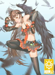 1girl absurdres black_legwear black_nails black_wings brass_knuckles brown_hair eddy_huang_zheng elbow_gloves feathered_wings feathers fingerless_gloves frills gloves highres leg_lift lips long_hair midriff nail_polish orange_eyes panties pantyshot pixiv_fantasia pixiv_fantasia_fallen_kings puckered_lips short_hair side_ponytail skirt small_breasts solo striped striped_panties thighhighs underwear very_long_hair weapon wings