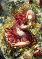 1girl absurdres basket blonde_hair bottle bread claws eyes_closed flower food highres little_red_riding_hood little_red_riding_hood_(grimm) long_hair lying nonohana on_side paws picnic_basket sleeping solo tree