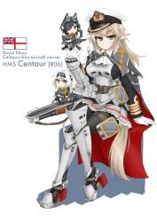 3girls airplane_wing arm_guards armor armored_boots boots cape dakku_(ogitsune) eyebrows_visible_through_hair eyepatch flight_deck frilled_skirt frills full_body gloves green_eyes grey_hair hat high_heels hms_centaur_(r06)_aircraft_carrier long_hair long_sleeves machinery mecha_musume military military_jacket military_uniform miniskirt multiple_girls original pantyhose peaked_cap pointy_ears royal_navy sitting skirt uniform white_ensign wings yellow_eyes