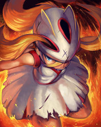 1girl blonde_hair blue_eyes female fire frown gym_leader helmet koruni_(pokemon) nintendo pokemon pokemon_xy skirt solo torn_clothes. yilx
