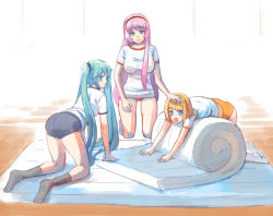 3girls :d all_fours aqua_eyes aqua_hair ass blonde_hair blue_eyes buruma grimay gym_uniform hair_ornament hairband hairclip hand_on_another's_head hatsune_miku kagamine_rin kneeling looking_back lying mat megurine_luka multiple_girls on_stomach open_mouth pink_hair smile tied_hair twintails vocaloid