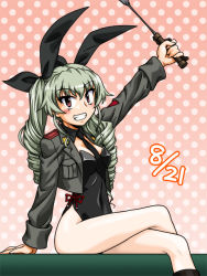 1girl anchovy arm_support bangs black_leotard bunny_day dated detached_collar drill_hair girls_und_panzer green_hair grey_jacket grin hair_ribbon holding legs_crossed leotard long_hair looking_at_viewer military military_uniform necktie osaka_kanagawa pink_background polka_dot polka_dot_background ribbon riding_crop side-tie_leotard sitting smile solo strapless strapless_leotard twin_drills twintails uniform