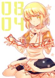 1girl :> atoki blonde_hair cat's_cradle date_pun green_eyes highres japanese_clothes mizuhashi_parsee number_pun pointy_ears scarf seiza sitting solo touhou translated