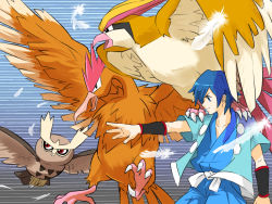 1boy bird blue_eyes fearow feathers from_side gym_leader hayato_(pokemon) japanese_clothes male_focus mumilove noctowl on_shoulder outstretched_arm owl pidgeot pokemon pokemon_(creature) red_eyes talons