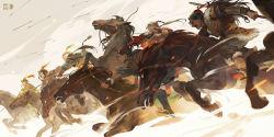 arrow bow_(weapon) highres horseback_riding mace pixiv_fantasia pixiv_fantasia_fallen_kings polearm rei_(sanbonzakura) riding spear tagme weapon