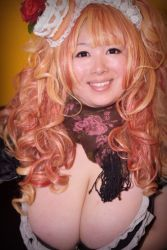 1girl asian breasts brown_eyes cleavage copyright_request downblouse fat hoshima_mika huge_breasts orange_hair photo solo