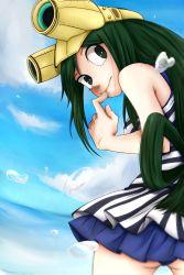 1girl asui_tsuyu boku_no_hero_academia goggles green_hair long_hair sea swimsuit