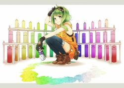 1girl black_gloves blue_legwear gloves goggles goggles_on_head green_eyes green_hair gumi looking_at_viewer short_hair smile solo spray_can thighhighs vocaloid