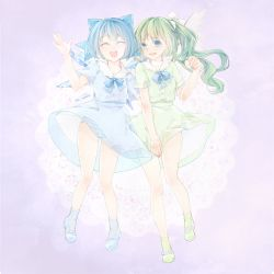 2girls alternate_costume ankle_socks blue_background blue_eyes blue_hair cirno daiyousei doily eyes_closed full_body gradient gradient_background green_hair hair_ribbon layered_dress looking_at_viewer mary_janes multiple_girls open_mouth panties parted_lips raised_hand ribbon see-through shoes short_hair short_sleeves side_ponytail simple_background skirt_hold standing striped striped_panties touhou tsukimiya_kamiko underwear wings