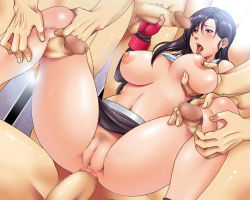 1girl anal anus areolae black_hair blush breast_grab breasts brown_eyes censored clothed_female_nude_male final_fantasy final_fantasy_vii fingerless_gloves gangbang handjob highres huge_breasts legs long_hair mosaic_censoring navel nipples no_name_ninja no_panties open_mouth penis pubic_hair pussy sex shirt_lift skirt skirt_lift solo_focus spread_legs standing suspenders sweat tank_top thigh_sex thighs tifa_lockhart tongue