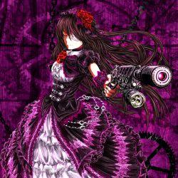 alternate_color alternate_costume amderxamder date_a_live eyepatch flower gun rose tokisaki_kurumi weapon