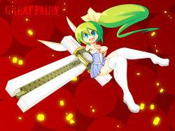 1girl :d alternate_costume bare_shoulders blue_eyes boots bow cross crossover daiyousei dress green_hair gun hair_bow huge_weapon kuresento long_hair open_mouth parody pointing short_dress side_ponytail smile solo strapless strapless_dress thigh_boots thighhighs touhou trigun weapon wings