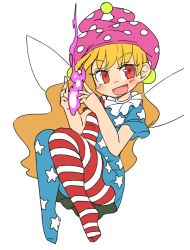 >:d 1girl :d american_flag_dress american_flag_legwear blonde_hair blue_legwear clownpiece dress fairy_wings fire floating full_body hat ini_(inunabe00) jester_cap long_hair looking_at_viewer neck_ruff open_mouth pink_fire pink_hat polka_dot_hat red_eyes red_legwear short_sleeves simple_background smile solo star star_print striped striped_dress striped_legwear touhou very_long_hair white_background wings