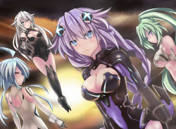 1girl 4girls :o absurdres ahoge back back_cutout bangs bare_shoulders black_heart blanc blue_eyes blue_hair blush braid breasts choujigen_game_neptune cleavage cleavage_cutout covered_navel dutch_angle elbow_gloves eyes_visible_through_hair flipped_hair gloves green_hair green_heart hair_between_eyes hair_ornament halterneck hand_on_hip high_ponytail highres hips large_breasts leotard light_smile long_hair looking_at_viewer looking_back magical_girl multiple_girls neptune_(choujigen_game_neptune) neptune_(series) noire open_mouth ponytail profile purple_eyes purple_hair purple_heart red_eyes short_hair_with_long_locks sidelocks smile solo symbol-shaped_pupils tatsuya_ishikawa turtleneck twin_braids underboob vambraces vert very_long_hair white_hair white_heart