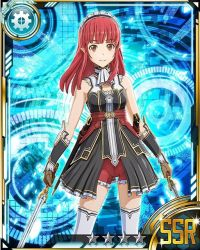 1girl brown_eyes brown_gloves card_(medium) dual_wielding eyebrows eyebrows_visible_through_hair gloves holding holding_sword holding_weapon long_hair looking_at_viewer maid_headdress rain_(sao) red_hair red_shorts shorts smile solo star sword sword_art_online thighhighs weapon white_legwear