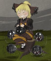 1girl blonde_hair brown_dress crossover don't_starve dress extra_eyes eyes_closed fangs grass grey_sky grin hair_ribbon highres kurodani_yamame long_sleeves monster open_mouth ribbon robin_(unlimited_world) sharp_teeth sitting smile spider teeth touhou tree_stump white_eyes