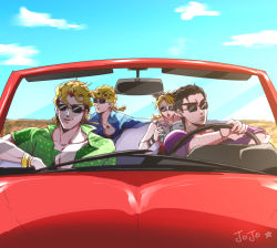 1girl 3boys aruti black_hair blonde_hair blue_sky book bracelet braid candy car cloud collarbone convertible dio_brando double_bun driving earrings father_and_daughter father_and_son giorno_giovanna ground_vehicle jewelry jojo_no_kimyou_na_bouken kuujou_jolyne kuujou_joutarou lollipop motor_vehicle multicolored_hair multiple_boys pendant reading single_braid sky stud_earrings sunglasses two-tone_hair wrist_cuffs