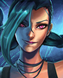 1girl blue_hair braid clockwork-cadaver eyelashes face fringe hair_over_one_eye highres jewelry jinx_(league_of_legends) league_of_legends lipstick long_hair makeup necklace nose pink_eyes portrait purple_lipstick smile solo twin_braids very_long_hair