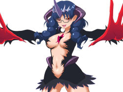 1girl black_skirt blue_hair braid breasts dark_persona glasses gloves go!_princess_precure horns long_hair low_twintails microskirt nanase_yui navel outstretched_hand precure prehensile_hair red_eyes red_gloves revealing_clothes semi-rimless_glasses skirt solo suzu-batsu twin_braids twintails white_background