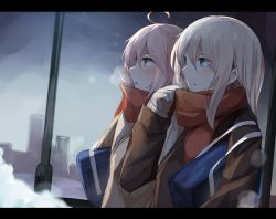 2girls ahoge aqua_eyes bag bangs blush breath brown_eyes closed_mouth dutch_angle eyebrows_visible_through_hair hair_between_eyes hibiki_(kantai_collection) highres i-58_(kantai_collection) kantai_collection lamppost lavender_hair letterboxed long_hair miyabino_(miyabi1616) multiple_girls outdoors red_scarf scarf school_bag shoulder_bag smile upper_body white_hair