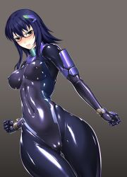 1girl angry ass blue_eyes blue_hair blush bodysuit breasts cameltoe covered_navel erect_nipples glasses gloves gluteal_fold gradient gradient_background hair_ornament hairclip latex latex_suit nijou_reiko original rindou_(radical_dream) shiny shiny_clothes skin_tight solo thigh_gap thighs wide_hips