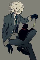 1boy cat edmond_dantes_(fate/grand_order) fate/grand_order fate_(series) grey_background hat highres jacket male_focus short_hair simple_background smile solo wavy_hair white_hair