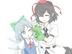2girls ascot bangs black_hair blue_eyes blue_hair bow cink-knic cirno commentary_request dress eyes_closed frog hair_bow hat ice ice_wings multiple_girls open_mouth puffy_short_sleeves puffy_sleeves puppet shameimaru_aya shirt short_hair short_sleeves sketch skirt smile tokin_hat touhou translation_request white_background wings