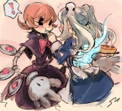 ! 2girls apron bloody_marie_(skullgirls) blue_fire blush bow cake commentary_request dress eating eye_socket feeding fire food gloves hair_ornament hat looking_at_another maid maid_headdress mechanical_arms multiple_girls notoro open_mouth orange_hair peacock_(skullgirls) red_eyes short_hair skull skull_hair_ornament skullgirls speech_bubble twintails white_gloves