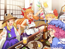 5girls :q ;d alcohol arm_up beer blonde_hair blue_dress blue_eyes blush bottle bow chains clenched_hand commentary crystal danmaku!! dress drinking eating eyes_closed flandre_scarlet food frog grin hair_bow hair_ribbon hairband hat hat_ribbon horn horn_ribbon horns ibuki_suika indoors japanese_clothes konpaku_youmu long_sleeves m._beatriz_garcia mob_cap moriya_suwako multiple_girls one_eye_closed oni open_mouth orange_hair party pink_hair plate puffy_sleeves red_eyes ribbon round_teeth saigyouji_yuyuko shirt short_hair shouji side_ponytail silver_hair skirt skirt_set sleeveless sleeveless_shirt sliding_doors smile table teeth tongue tongue_out touhou triangular_headpiece wide_sleeves wings wrist_cuffs yellow_eyes