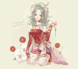 1girl amumu326 bow final_fantasy final_fantasy_vi green_hair hair_bow jewelry looking_at_viewer moogle necklace necklace_removed smile solo tina_branford white_background
