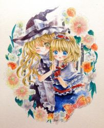 2girls alice_margatroid apron arm_around_shoulder black_dress blonde_hair blue_eyes blush bow capelet dress flower hairband hands_together hat kirisame_marisa multiple_girls niko_(2ars) open_mouth puffy_short_sleeves puffy_sleeves ribbon short_sleeves smile touhou traditional_media watercolor_(medium) winking witch_hat wrist_cuffs yellow_eyes