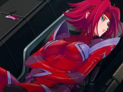 blue_eyes bodysuit breasts code_geass headband kallen_stadtfeld large_breasts red_hair short_hair