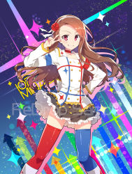1girl :d blush brown_eyes brown_hair flower hair_flower hair_ornament hand_on_hip idolmaster idolmaster_movie long_hair minase_iori open_mouth red_eyes redrop sample skirt smile solo starpiece_memories thighhighs v
