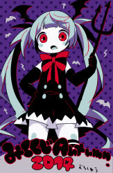 >:o 2014 :o alternate_costume bat bat_wings black_gloves blue_hair blush_stickers buttons cross dress elbow_gloves fang gloves hatsune_miku head_wings maako_(pixiv54348) neck_ribbon pitchfork polka_dot polka_dot_background purple_background red_eyes ribbon striped striped_ribbon text thighhighs twintails vocaloid wings