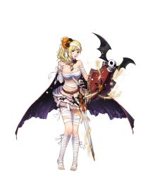 artist_request bandage bandaged_head bat bat_wings blonde_hair blue_eyes bow cape character_request copyright_request feet hair_bow halloween highres holding holding_weapon jack-o'-lantern long_hair looking_at_viewer navel parted_lips shield side_ponytail skirt skull sword toes transparent_background weapon wings