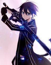 1boy belt black_eyes black_hair fingerless_gloves gloves kirito pose short_hair smile sword_art_online tsukimori_usako
