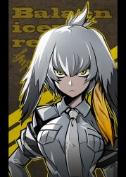 1girl arikanrobo bangs belt bird blush bodystocking breast_pocket breasts collar collared_shirt commentary_request frown grey_hair grey_shirt hand_on_hip head_wings highres kemono_friends long_hair looking_at_viewer low_ponytail medium_breasts multicolored_hair necktie outline pocket shirt shoebill shoebill_(kemono_friends) short_sleeves solo white_background yellow_eyes