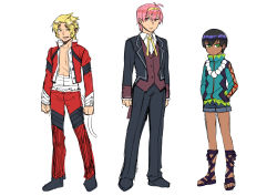 3boys black_hair blonde_hair butler character_sheet circlet dark_skin genderswap genderswap_(ftm) green_eyes height_difference journey_to_the_west lineup monkey_tail multiple_boys otosama pink_hair sandals sarashi sha_wujing shorts simple_background sketch sun_wukong tail white_background yellow_eyes zhu_bajie