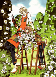1boy 1girl absurdres bad_anatomy blonde_hair blue_eyes brown_hair clamp fay_d_flourite flower green_eyes highres outdoors sakura_hime short_hair tsubasa_chronicle